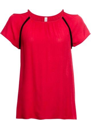 Brillante Blusa in tessuto stropicciato con spalle scoperte
