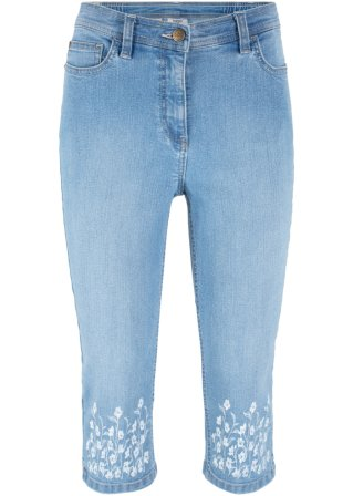 Jeans 3/4 con bordura stampata