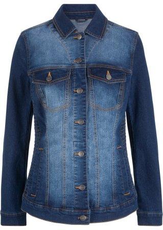 Giacca di jeans con inserti smock ai lati