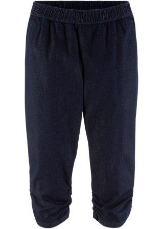 Pinocchietto di jeans elasticizzato con arricciature