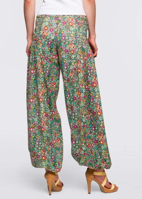 Pantaloni femminili alla zuava con fantasia floreale all over - Verde fantasia CiHkwRme