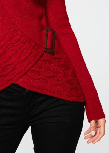 Bellissimo maglione con fibbia - Rosso scuro t4pwmk55