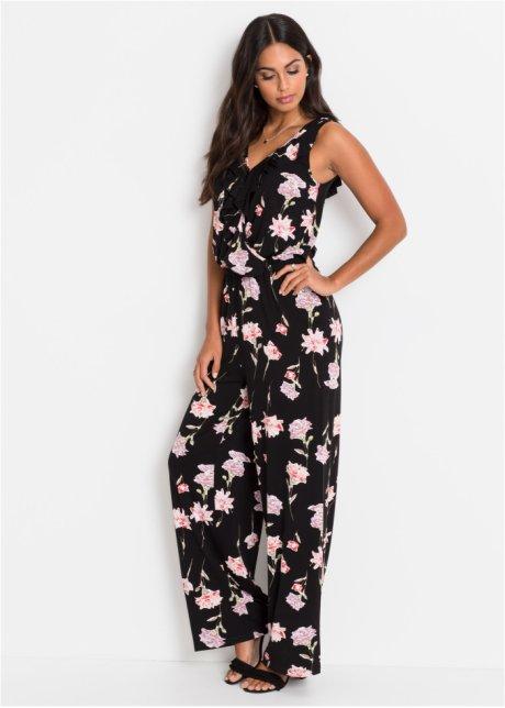 Tuta trendy con ruches sullo scollo - Nero a fiori BAS8N3Xh