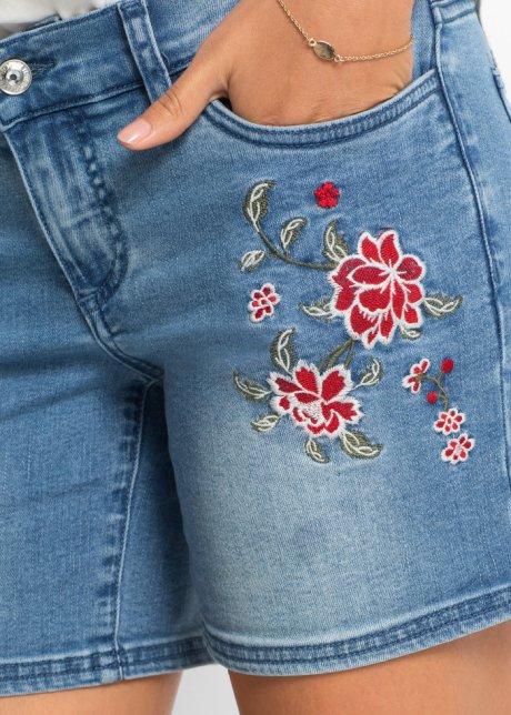 Belissimi shorts di jeans con ricamo e risvolto - Blu bleached GIpyY7U4