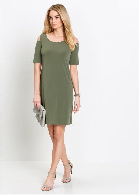 Affascinante abito in maglina con cut-out - Verde oliva S0VIIexw