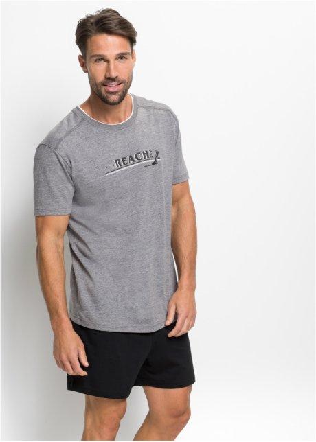 Bellissimo pigiama estivo dal look sportivo maschile - Grigio melange / nero Eng9nusz