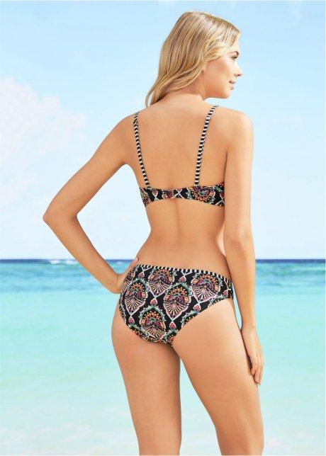 Bikini raffinato con reggiseno a balconcino e spalline multifunzione - Nero / fucsia / bianco fantasia Coppa C aIDeDynR