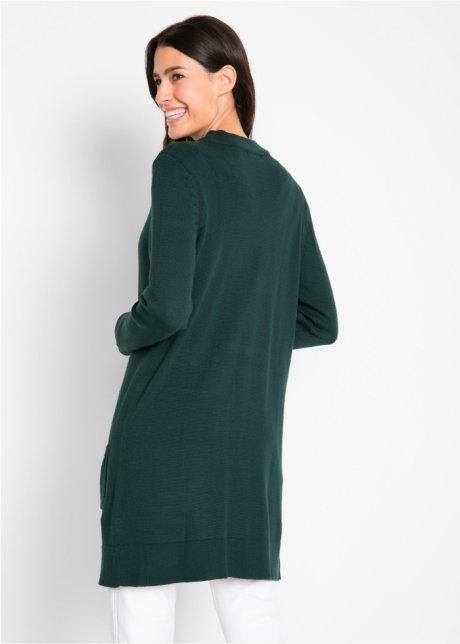 Cardigan attraente dal comodo taglio lungo - Verde scuro NXHxw7VJ