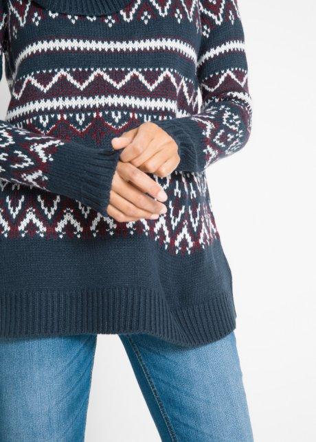 Maglione norvegese dal taglio morbido con collo a ciambella - Blu scuro jacquard jWYS0c4W