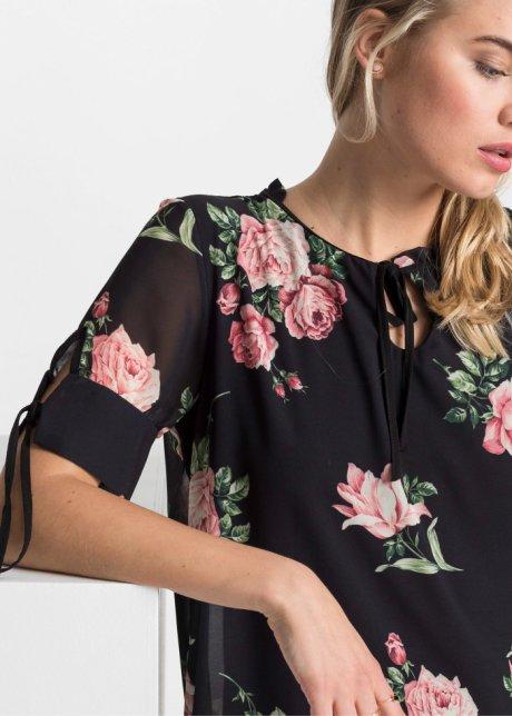 Incantevole abito con strato di chiffon a fiori - Nero a fiori VlkzPg5t