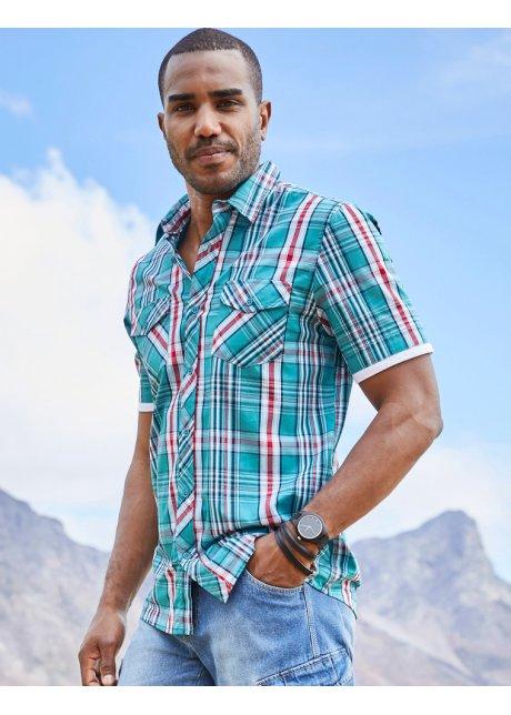 Camicia da uomo casual con maniche corte dal bordino a contrasto - Verde mare a quadri epKuIkFY