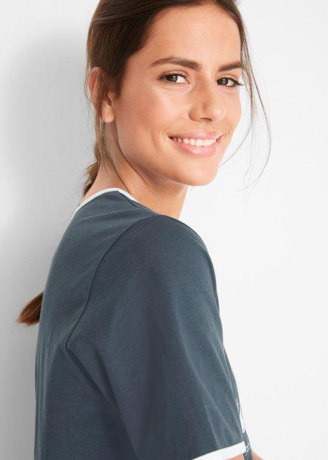 T-shirt lunga e ampia con stampa - Blu notte FeGecq21