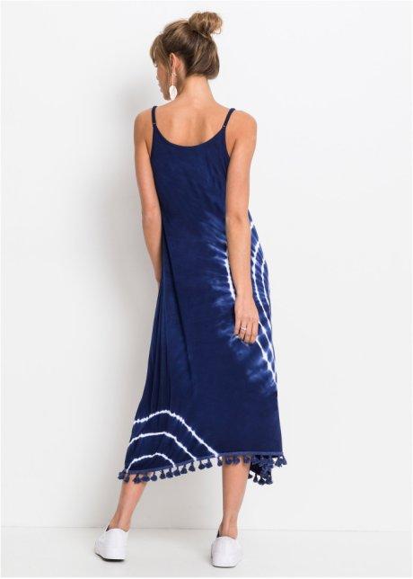 Abito grazioso con nappine - Batik blu notte / bianco lBXb4eUs