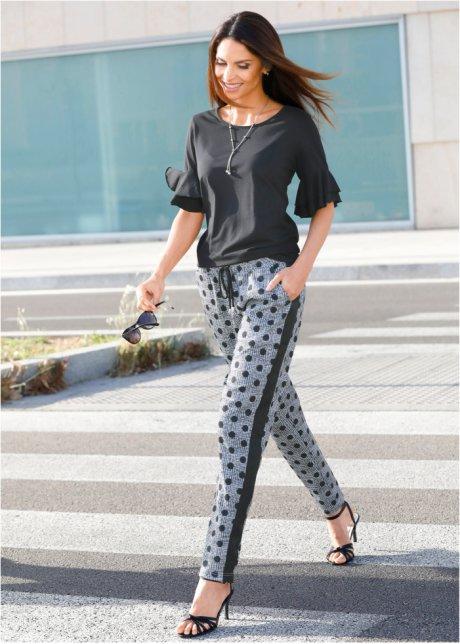Pantaloni lunghi con cinta elastica e bande laterali - Nero / bianco uQeXVTq2