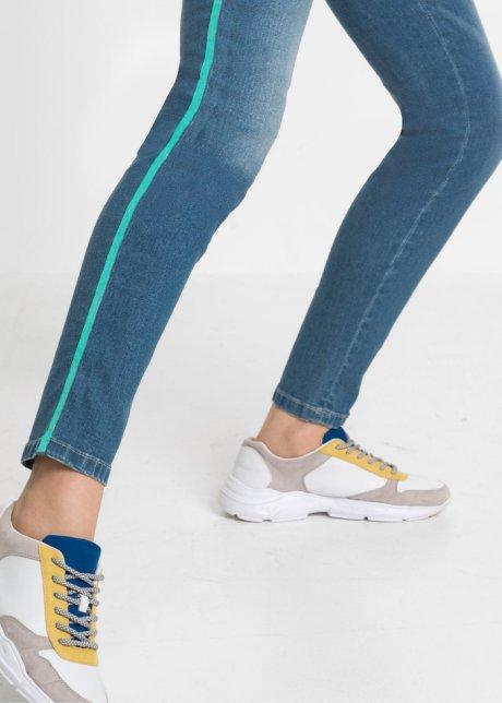 Moderni jeans skinny cropped con bande laterali - Blu bleached / verde acquamarina Q5wAeS5Y