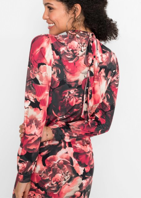 Abito di jersey con fiocco Rosso / nero a fiori - Donna - bonprix.it 6sebsOx2