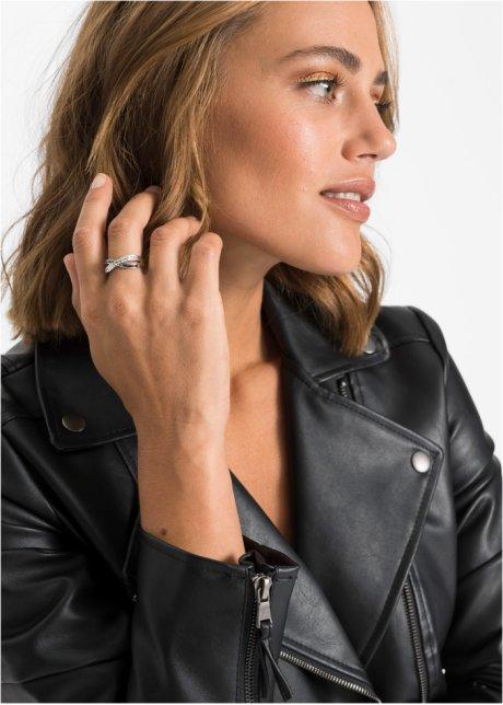 Anello con cristalli Swarovski® Placcatura rodio / nero - Donna - bonprix.it O62Sm34O