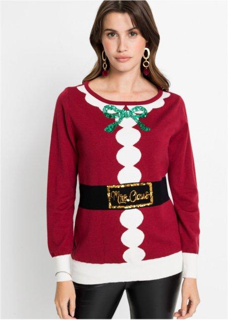 Maglione natalizio con paillettes Rosso bruno - BODYFLIRT ordina online - bonprix.it dBlZMTnV