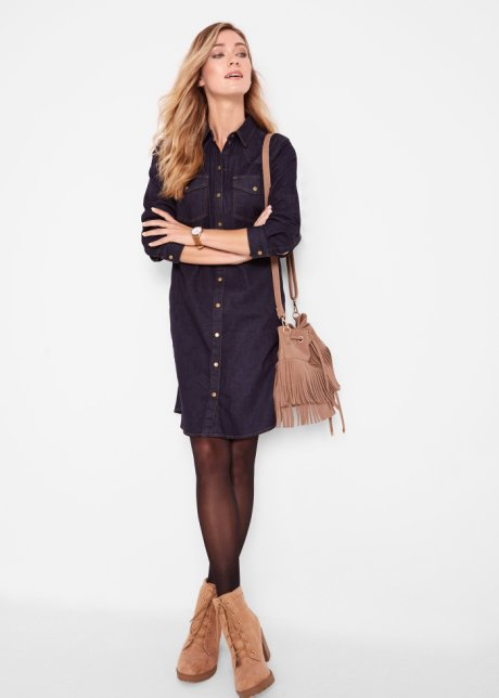 Abito di jeans elasticizzato a maniche lunghe Blu scuro - Donna - bonprix.it vW3tGPN1
