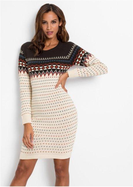 Abito in maglia norvegese Bianco panna / blu scuro - BODYFLIRT boutique acquista online - bonprix.it Ykdrusv4