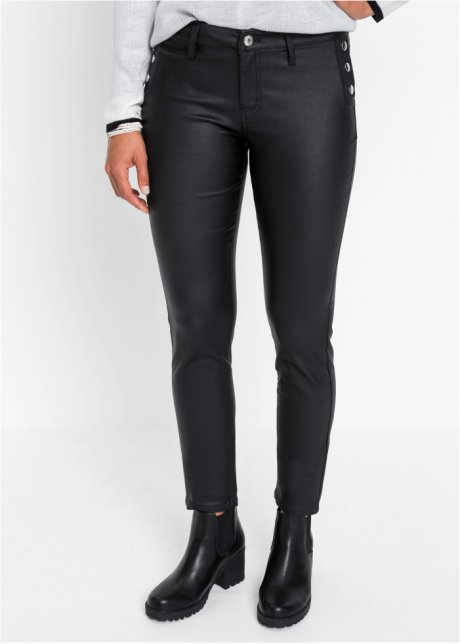 Pantaloni in similpelle con bottoni Nero - Donna - bonprix.it PHRIjSVi