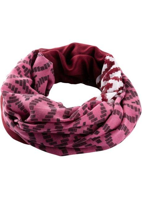 Bella sciarpa ad anello in fantasia - Bacca sorbetto / crema / bordeaux fantasia 07xVbaMs