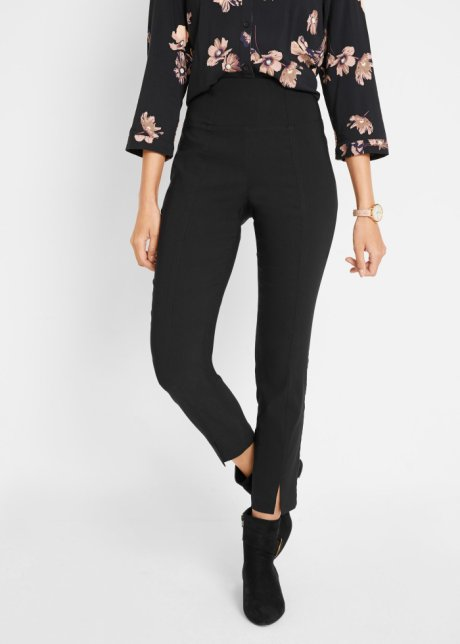 Pantaloni cropped con speciale effetto pancia piatta e spacchetti al fondo - Nero 8Kinjfzu