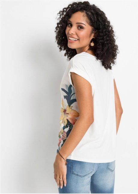 Maglia bitessuto stampata Bianco panna con fiori - BODYFLIRT acquista online - bonprix.it GSvGADrv