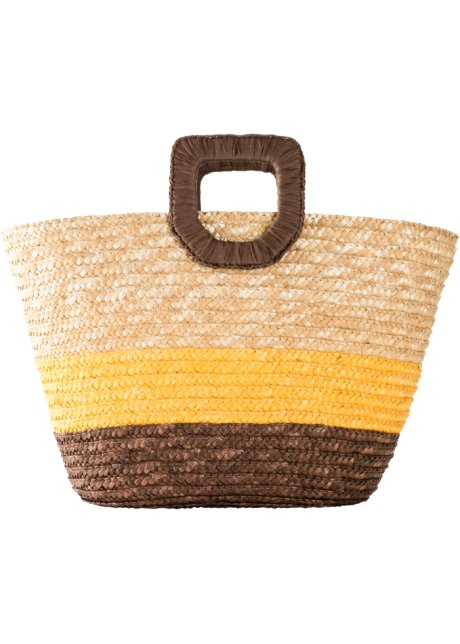 Borsa di paglia estiva con manici squadrati - Colore naturale / marrone scuro / giallo a righe 8Xdhqso3