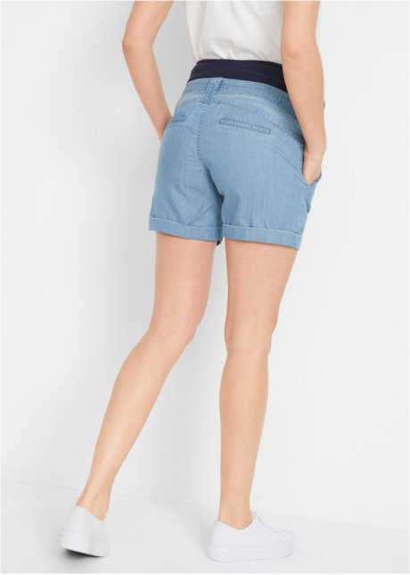 Shorts prémaman effetto jeans con fascia elastica sulla pancia - Blu bleached llY3DrbY