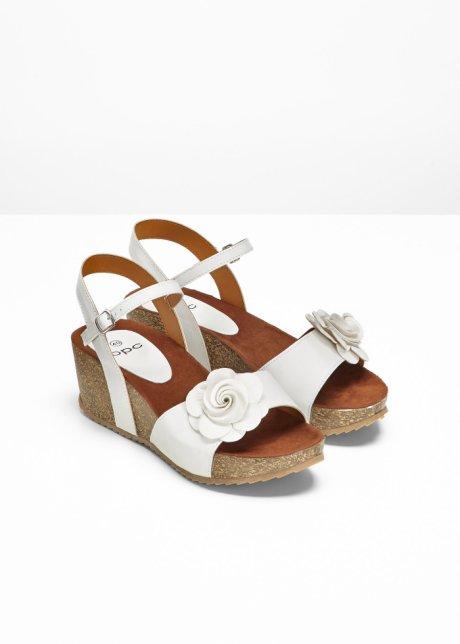 Sandali freschi con zeppa cinturino e fibbia - Bianco 10MawcxC