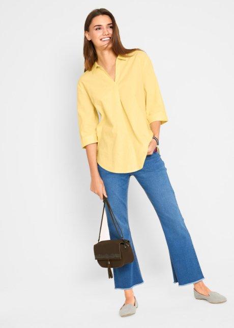 Blusa oversize in misto lino piacevole con colletto - Giallo chiaro 8xydQBwq