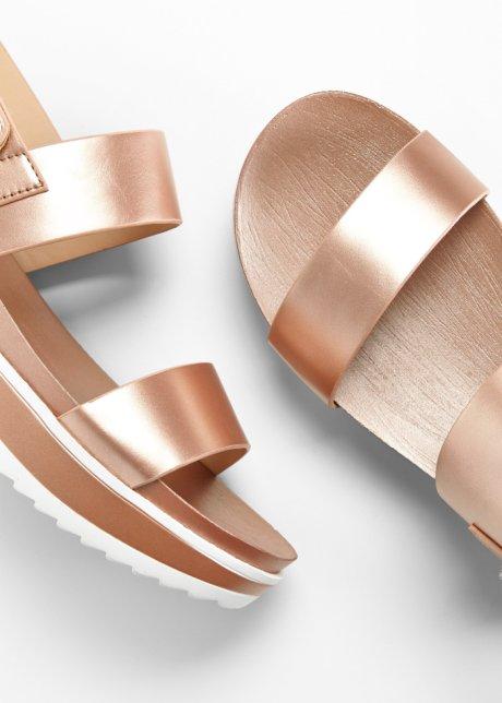 Sandali con plateau e chiusura a strappo - Rosé metallizzato QxvUxHIt
