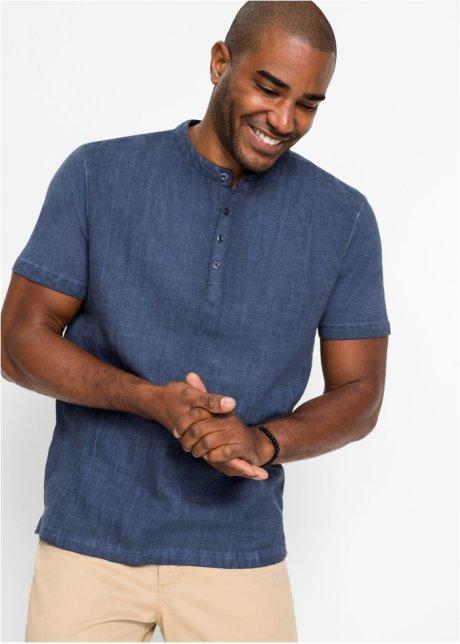 T-shirt con bottoncini allo scollo e davanti in misto lino - Indaco MxT6mVog