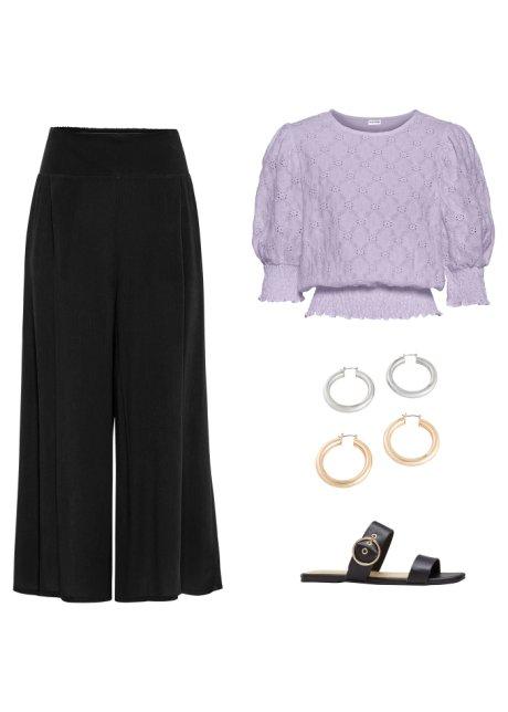 Bellissima maglia con pizzo e bordo a lavorazione smock - Violetto sFAJENGB