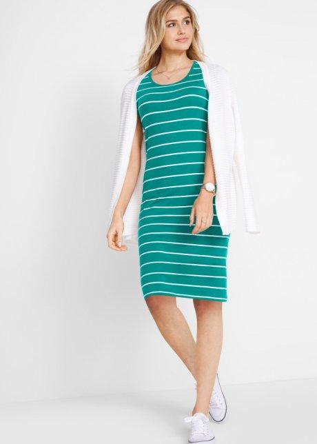 Abito di jersey in cotone elasticizzato - Verde smeraldo / bianco a righe 5QemLo3g