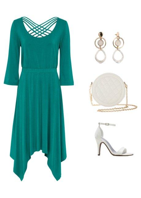 Abito con effetto stringatura Verde smeraldo scuro - BODYFLIRT boutique ordina online - bonprix.it GhaOTqzo