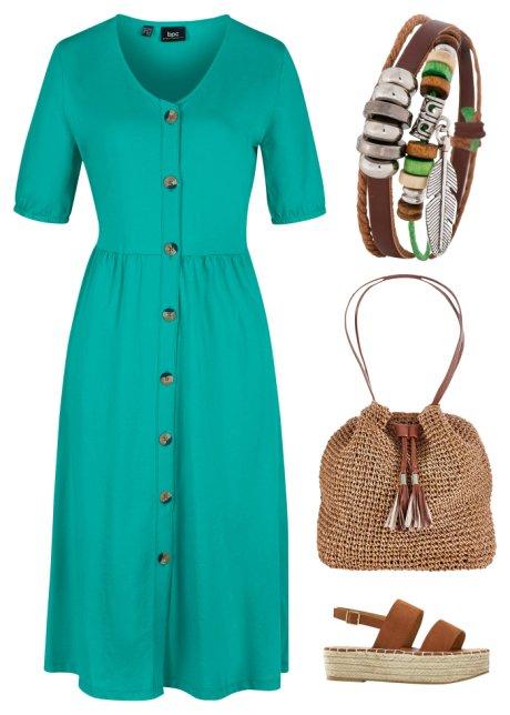Bellissimo abito in cotone con abbottonatura ed elastico a fondo manica - Verde smeraldo ZwcBQJR5