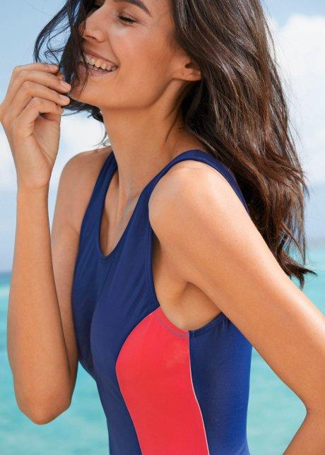 Bellissimo costume con inserti a contrasto e scollo profondo sul dorso - Blu scuro / rosso jSJ8Yrob
