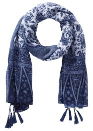 "Sciarpa con nappine ""Paisley"", bpc bonprix collection, Blu scuro / bianco"