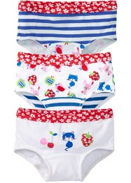 Panty (pacco da 3), bpc bonprix collection, Bianco / fragola fantasia + bluette a righe