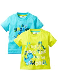 T-shirt (pacco da 2), bpc bonprix collection, Acqua + lime
