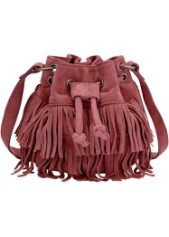 Borsa a sacchetto in pelle con frange, bpc bonprix collection, Bordeaux