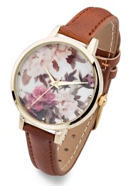 Orologio con quadrante a fiori, bpc bonprix collection, Marrone