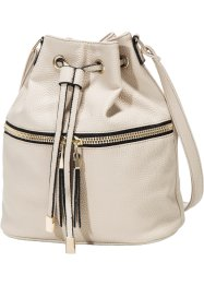 Borsa a sacchetto con cerniera, bpc bonprix collection, Beige / oro