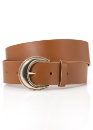 Cintura in pelle con fibbia rotonda, bpc bonprix collection, Cognac