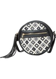 "Borsa ""Ethno"" rotonda, bpc bonprix collection, Crema / nero"