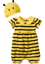 Tutina a manica corta + berretto (set 2 pezzi) in cotone biologico, bpc bonprix collection, Giallo limone / nero