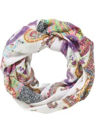 Sciarpina ad anello in fantasia paisley, bpc bonprix collection, Bianco / bacca