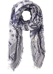 Sciarpina  jacquard con frange, bpc bonprix collection, Blu / bianco